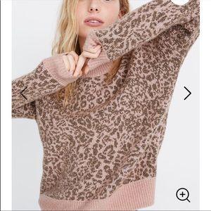 Madewell Shrunken Pullover Sweater Leopard XL